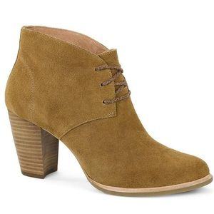 Ugg tan suede lace up wedge booties